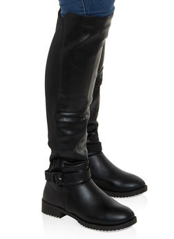 Buckle Detail Stretch Back Tall Boots - BLACK - 1116056633729