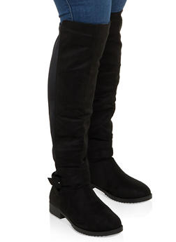 Buckle Detail Stretch Back Tall Boots - BLACK SUEDE - 1116056633729