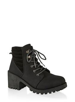 Lace Up Lug Sole Mid Heel Booties - BLACK - 1116056634548