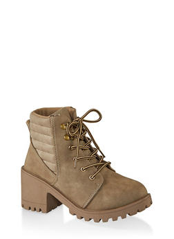 Lace Up Lug Sole Mid Heel Booties - TAUPE - 1116056634548