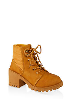 Lace Up Lug Sole Mid Heel Booties - CHAMOIS - 1116056634548