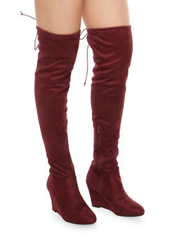 Stretch Over the Knee Wedge Boots - 1116056638661