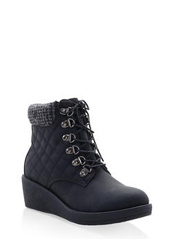 Quilted Knit Cuff Wedge Booties - BLACK - 1116057263653