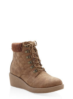 Quilted Knit Cuff Wedge Booties - TAN - 1116057263653