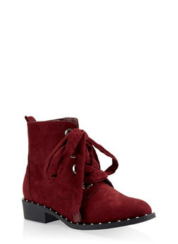 Studded Sole Lace Up Booties - WINE - 1116057268484