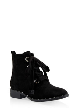 Studded Sole Lace Up Booties - BLACK SUEDE - 1116057268484