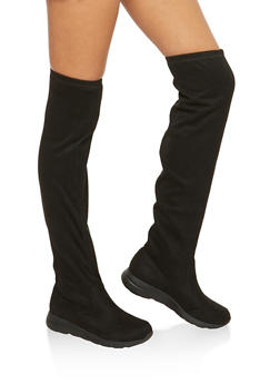 Rubber Sole Over the Knee Boots - BLACK F/S - 1116062095224