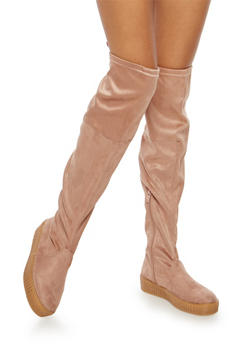 Creeper Sole Over the Knee Boots - DUSTY PINK - 1116070407343