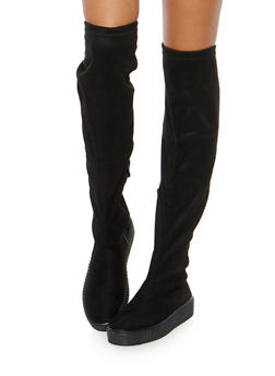 Creeper Sole Over the Knee Boots - BLACK SUEDE - 1116070407343