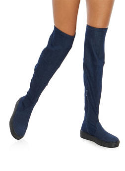 Creeper Sole Over the Knee Boots - BLUE DENIM - 1116070407343