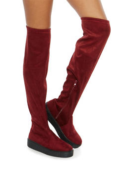Creeper Sole Over the Knee Boots - BURGUNDY - 1116070407343