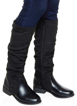 Tall Ruched Faux Suede Boots - BLACK - 1116070759753