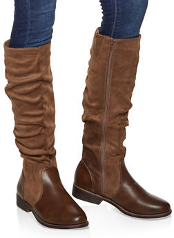 Tall Ruched Faux Suede Boots - 1116070759753