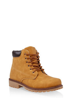 Lace Up Contrast Stitch Work Boots - 1116073112769