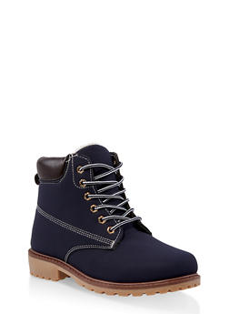7d21d5332c8 Lace Up Contrast Stitch Work Boots - NAVY S - 1116073112769
