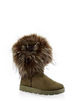 Faux Fur Cuff Boots - 1116073113871