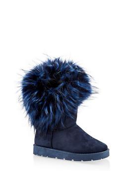 Faux Fur Cuff Boots - NAVY - 1116073113871