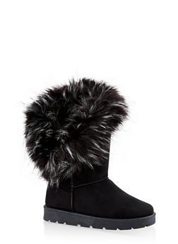 Faux Fur Cuff Boots - BLACK SUEDE - 1116073113871
