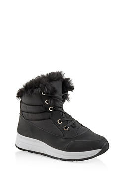 Faux Fur Lined Booties - BLACK - 1116073114464