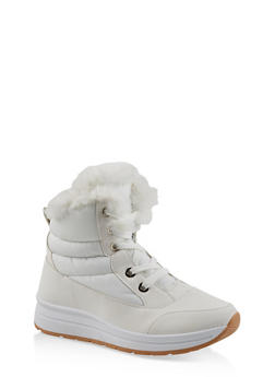 Faux Fur Lined Booties - WHITE - 1116073114464