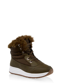 Faux Fur Lined Booties - 1116073114464