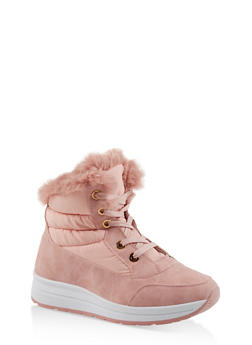 Faux Fur Lined Booties - PINK - 1116073114464