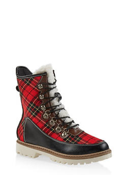 Lace Up Lug Sole Boots - RED - 1116073115225