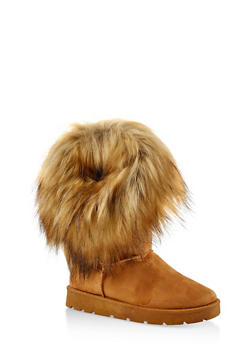 Faux Fur Cuff Boots - TAN - 1116073115674