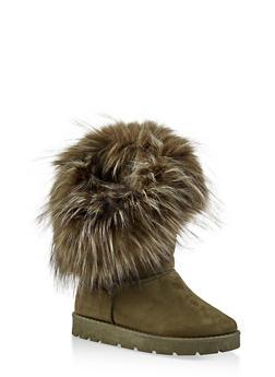 Faux Fur Cuff Boots - 1116073115674