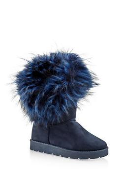 Faux Fur Cuff Boots - NAVY - 1116073115674