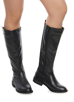 Faux Leather Elastic Back Riding Boots - 1116073495284