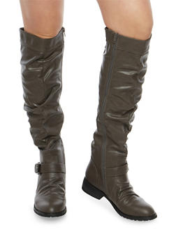 Knee High Ruched Riding Boots with Lace Up Detail - 1116073495475