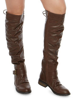 Knee High Ruched Riding Boots with Lace Up Detail - BROWN - 1116073495475