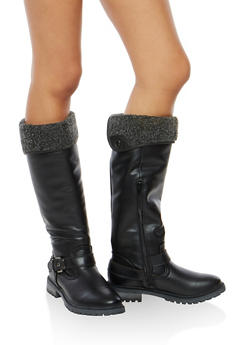 Fold Over Fleece Lined Boots - 1116073497254
