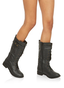 Faux Leather Tall Combat Boots with Strap Detail - BLACK - 1116073498068