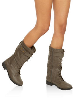 Faux Leather Tall Combat Boots with Strap Detail - 1116073498068