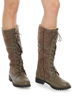Tall Faux Fur Lined Lace Up Boots - 1116073498148