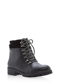 Faux Leather Lace Up Booties - BLACK - 1116073498150