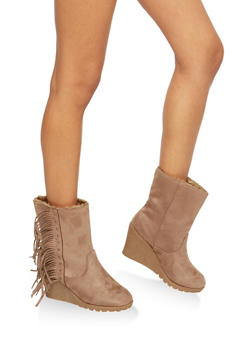 Side Fringe Wedge Booties - 1116073498180