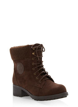 Sherpa Cuffed Lace Up Booties - BROWN - 1116073499266