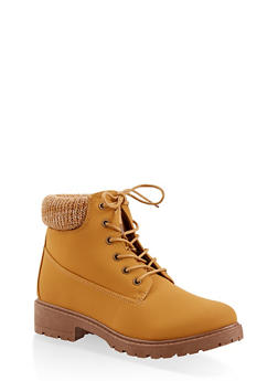 Knit Cuff Lace Up Work Boots - OATMEAL - 1116073541020