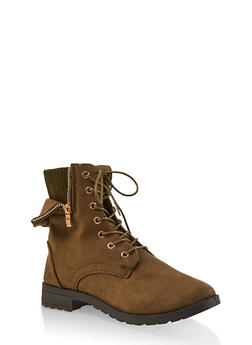 Knit Cuff Lace Up Booties - OLIVE - 1116073541022