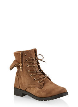 Knit Cuff Lace Up Booties - TAUPE - 1116073541022