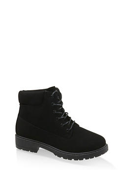 Solid Lace Up Work Boots - 1116073541026