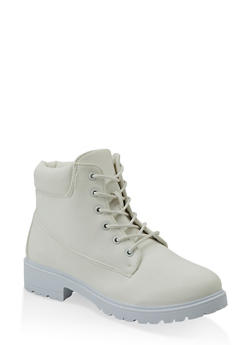 Solid Lace Up Work Boot - 1116073541026