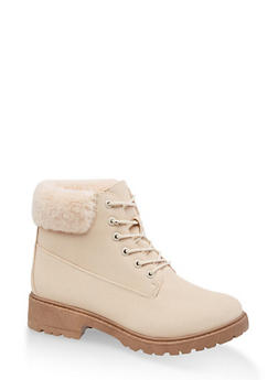 Faux Fur Collar Work Boots - 1116073541028