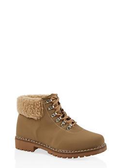 Sherpa Cuff Work Boots - CAMEL - 1116073541031