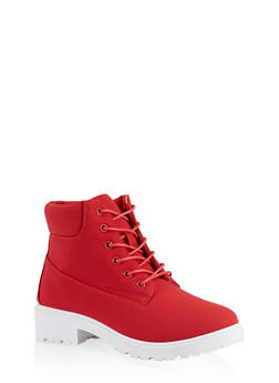 Lace Up Work Boots | 1116073541032 - RED - 1116073541032