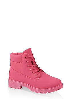 Lace Up Work Boots | 1116073541032 - FUCHSIA - 1116073541032