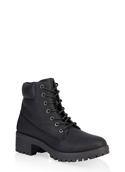 Lace Up Work Boots - BLACK - 1116073541042